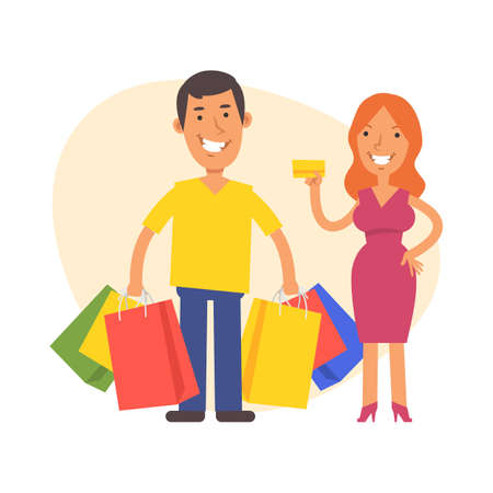 Woman holds credit card and man stands nearby and holds packages with purchases. Vector characters. Vector Illustration Illustration