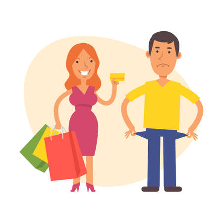 Woman holds credit card and and man shows that he has no money. Vector characters. Vector Illustration Illustration