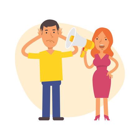 Woman shouts into megaphone at man. Vector characters. Vector Illustration Illustration