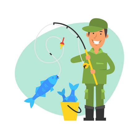 Fisherman caught big fish on fishing rod and smiles. Vector characters. Vector Illustration Illustration