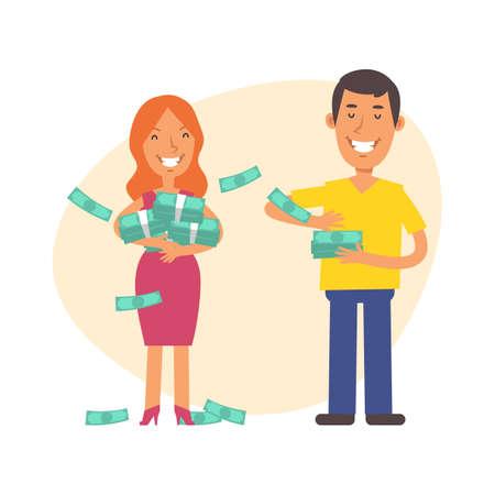 Man showered money on woman. Vector characters. Vector Illustration Illustration