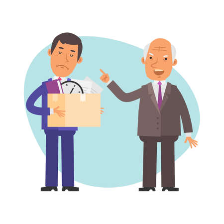 Old businessman fires young businessman. Vector characters. Vector Illustration Illustration