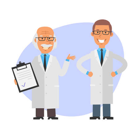 Old professor is holding tablet and smiling. Young scientist holds his hands at his hips and smiles. Vector characters. Vector Illustration Illustration