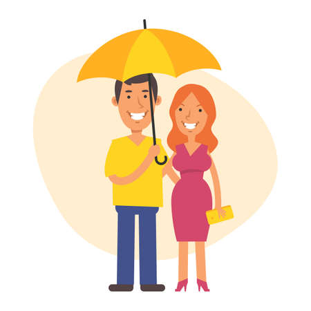 Man and woman stand side by side under an umbrella and smile. Vector characters. Vector Illustration