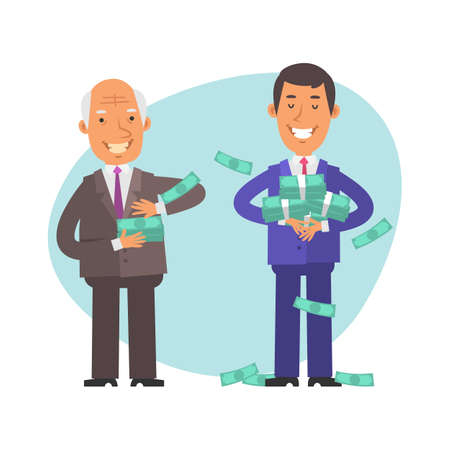 Old businessman gives wages to young businessman. Vector characters. Vector Illustration Illustration