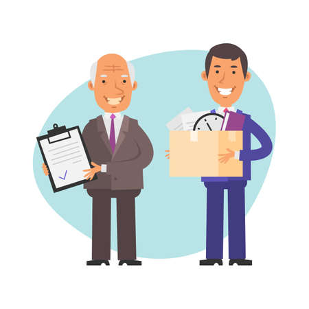 Old businessman hires young businessman. Vector characters. Vector Illustration Illustration