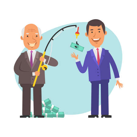 Old businessman holding fishing rod and bait money. Young businessman wants to take money. Vector characters. Vector Illustration