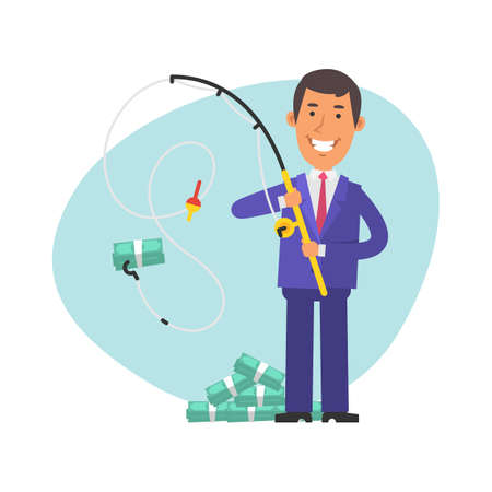 Young businessman caught wad of money on fishing rod. Vector characters. Vector Illustration Illustration