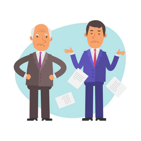 Old businessman angry. Young businessman outraged. Vector characters. Vector Illustration