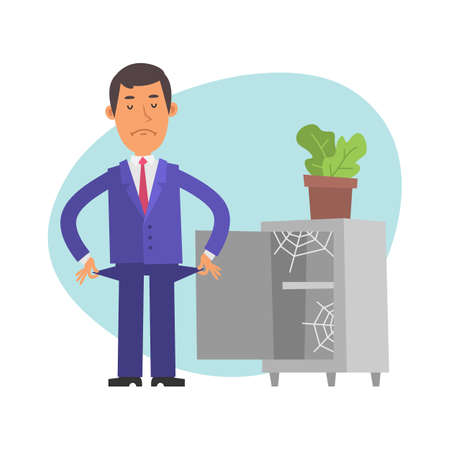 Businessman stands near an empty safe and shows that he has no money. Vector characters. Vector Illustration