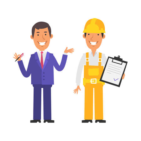 Businessman holding pen and smiling. Builder holds tablet and smiles. Vector characters. Vector Illustration