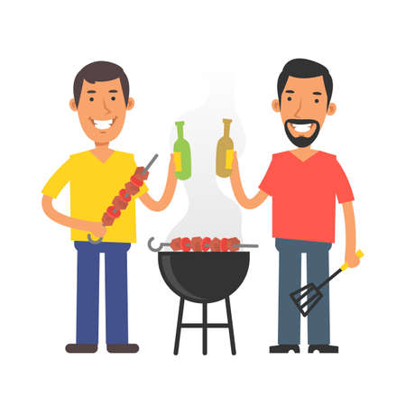 Young man holding barbecue and beer. Young man with beard holding kitchen spatula and beer. Vector characters. Vector Illustration