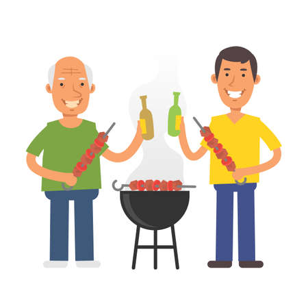 Old man holding barbecue and beer. Young man holding barbecue and beer. Vector characters. Vector Illustration