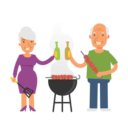 Old woman holding kitchen spatula and beer. Old man holding barbecue and beer. Vector characters. Vector Illustration