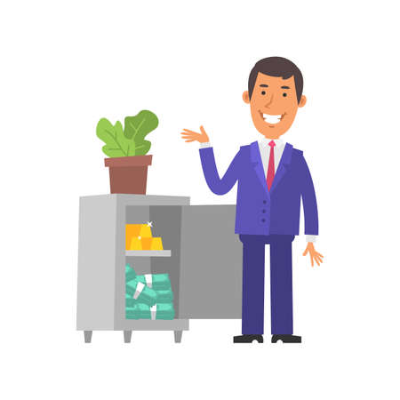 Businessman points to safe and smiles. Safe with gold and money. Vector characters. Vector Illustration