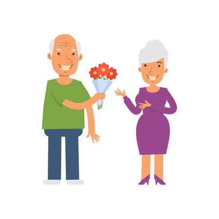 Old man giving bouquet flowers to an old woman. Vector characters. Vector Illustration