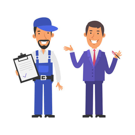 Repairman holding tablet and smiling. Businessman holding pen and smiling. Vector characters. Vector Illustration