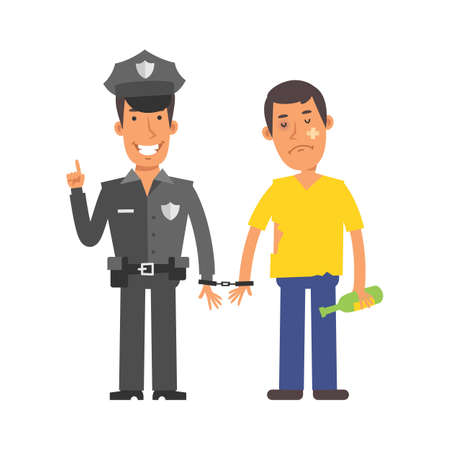 Police officer holding drunk man in handcuffs. Vector characters. Vector Illustration Illustration