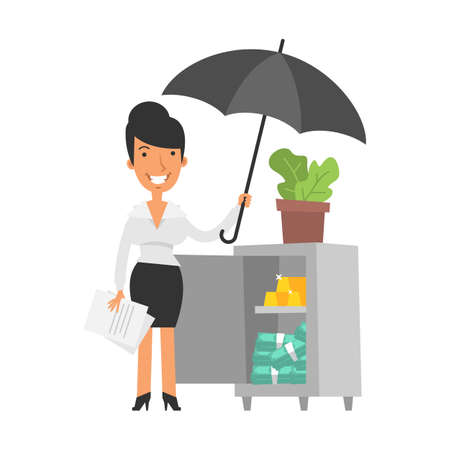 Young business woman is holding an umbrella and smiling. Safe with gold and money. Vector characters. Vector Illustration Illustration