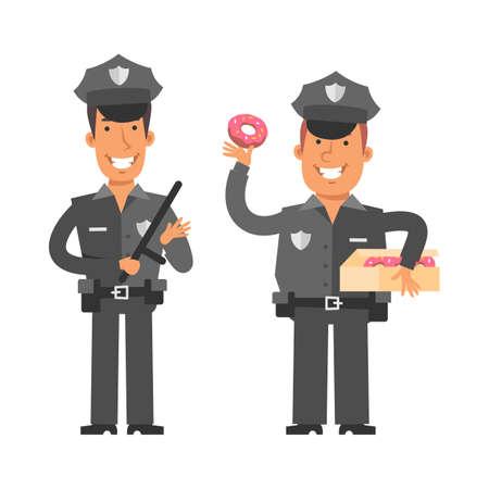 Thin policeman holding police baton. Fat policeman holding donut. Vector characters. Vector Illustration Illustration