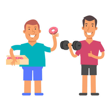 Fat man holding donut and smiling. Slim man holding dumbbell and showing thumbs up. Vector characters. Vector Illustration Illustration
