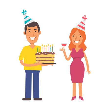 Young man holding cake. Young woman holding glass of wine. Birthday of woman. Vector characters. Vector Illustration Illustration