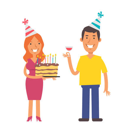 Young woman holding cake. Young man holding glass of wine. Birthday of man. Vector characters. Vector Illustration