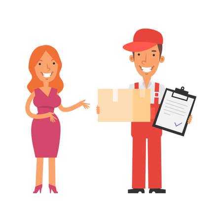 Girl standing and smiles. Postman holds box tablet and smiles. Vector characters. Vector Illustration