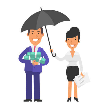 Businessman holding money and smiling. Business woman holding umbrella and smiling. Vector characters. Vector Illustration