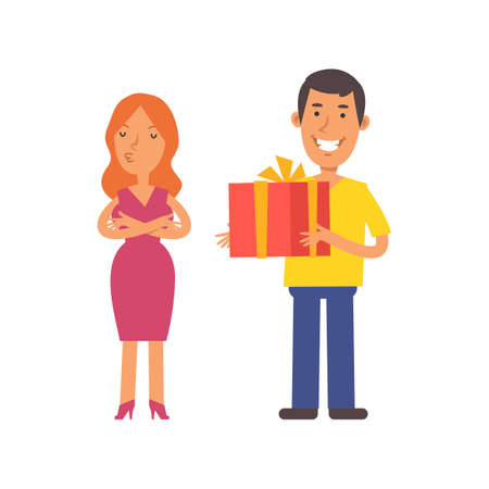 Girl was offended. Men holding gift box and smiling. Vector characters. Vector illustration Illustration