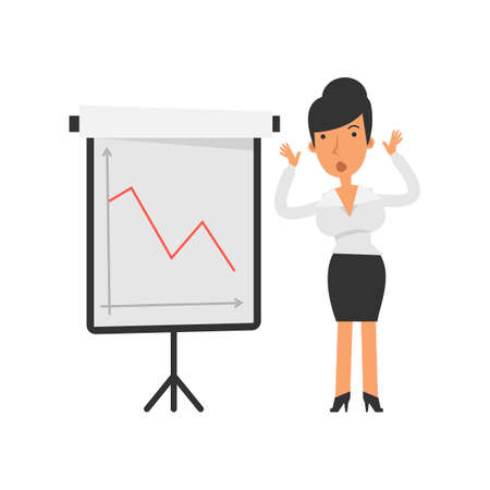 Negative business graph. Businesswoman displeased. Vector characters. Vector illustration