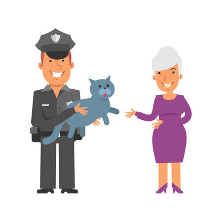 Policeman holding cat and smiling. Old woman stands and smiles. Vector characters. Vector illustration Illustration