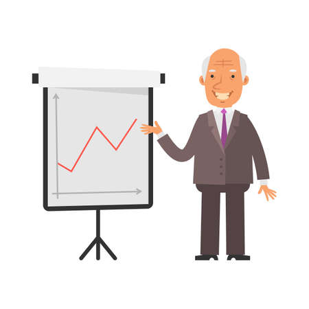 Positive business graph. Old businessman happy and smiling. Vector characters. Vector illustration Illustration