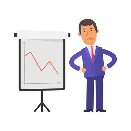 Negative business graph. Young businessman displeased. Vector characters. Vector illustration Illustration