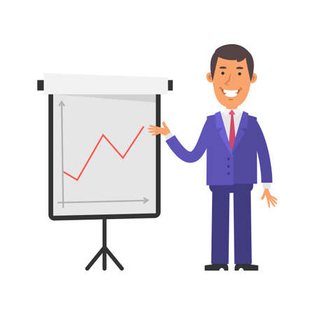 Positive business graph. Young businessman happy and smiling. Vector characters. Vector illustration