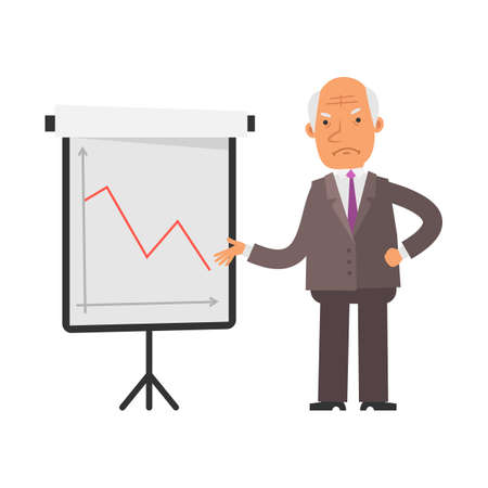 Negative business graph. Old businessman displeased. Vector characters. Vector illustration