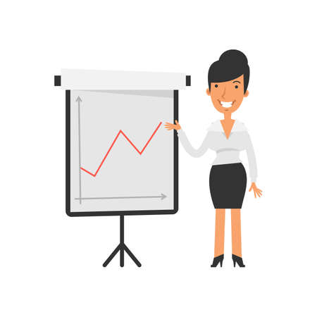 Positive business graph. Businesswoman happy and smiling. Vector characters. Vector illustration Illustration