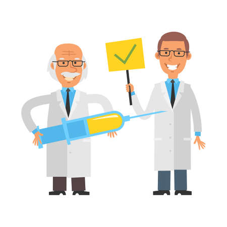 Old scientist holding syringe and smiling. Young scientist holding sign with check mark and smiling. Vector characters. Vector illustration