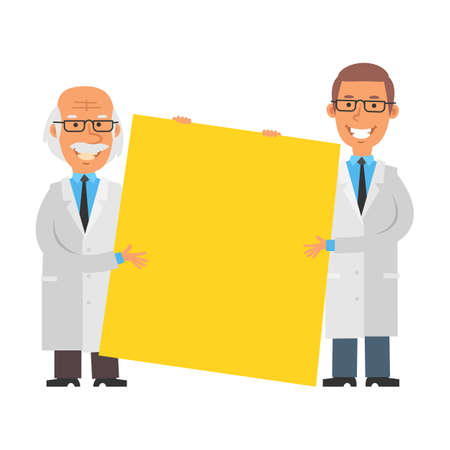 Young and old scientist holding big blank sign and smiling. Vector characters. Vector illustration