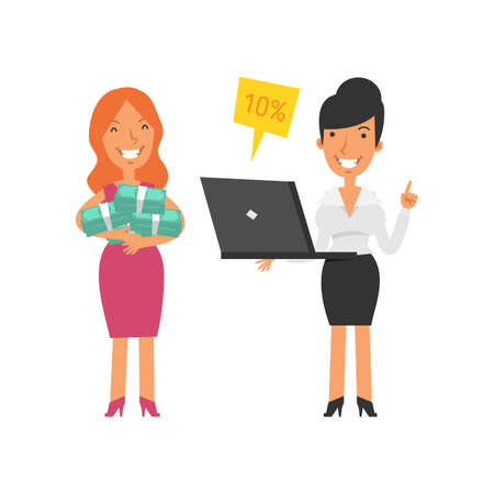 Young woman holding lot money and smiling. Business woman holding laptop and smiling. Vector characters. Vector illustration