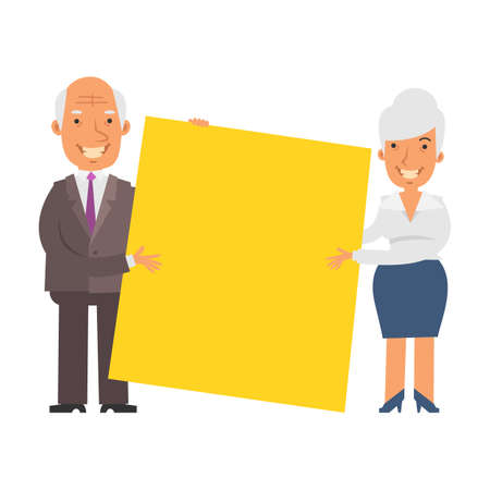 Old businesswoman and old businessman holding big blank sign and smiling. Vector characters. Vector illustration
