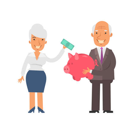 Old businessman holding piggy bank and smiling. Old businesswoman holding banknote and smiling. Vector characters. Vector illustration