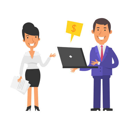 Businesswoman holding documents and smiling. Businessman holding laptop and smiling. Vector characters. Vector illustration Illustration