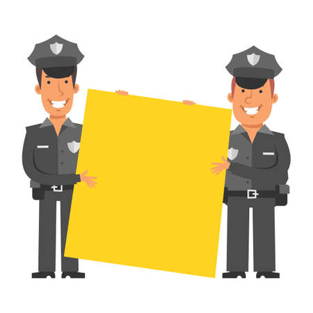 Two police officers holding big blank sign and smiling. Vector characters. Vector illustration