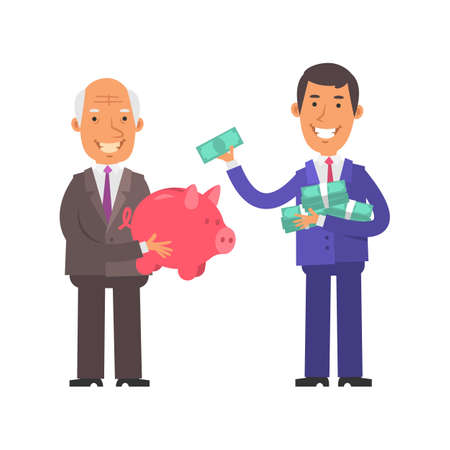 Old businessman holding piggy bank and smiling. Young businessman holding lot money and one banknote. Vector characters. Vector illustration Illustration