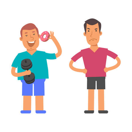 Fat man holding dumbbell and holding sweet donut. Thin man holds his hands at his hips and angry. Vector characters. Vector illustration