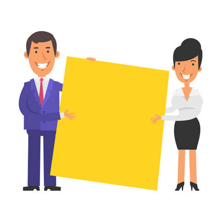 Businesswoman and businessman holding big blank sign and smiling. Vector characters. Vector illustration