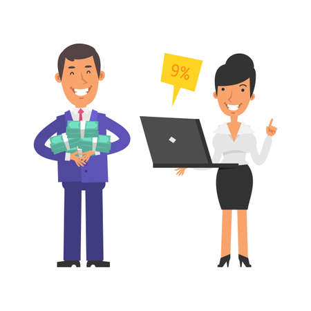 Young businessman holding lot money and smiling. Business woman holding laptop and smiling. Vector characters. Vector illustration