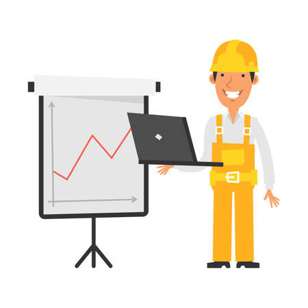 Business graph with positive indicator. Builder holds laptop and smiles. Vector characters. Vector Illustration Illustration