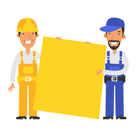 Builder and repairman hold large blank sign. Vector characters. Vector Illustration Illustration